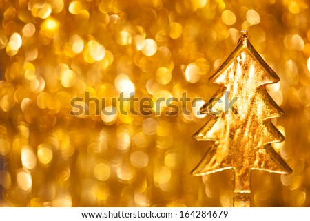 christmas three on shiny bokeh background with copy-space - stock photo