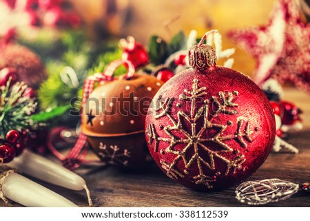 Christmas Time.Christmas candle and decoration. Christmas border design on the wooden background. Christmas fir tree with christmas candle and decoration. - stock photo