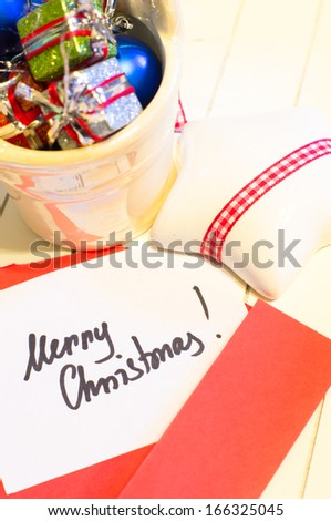 Christmas time: different holiday decoration and note