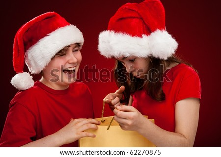 Christmas time - kids with Santa Claus Hat