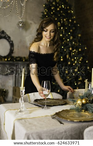 Christmas time, woman and a plate