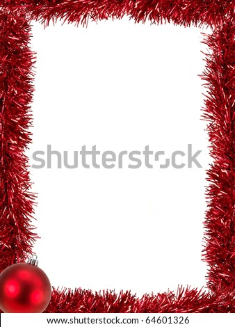 Christmas Tinsel as a border isolated against a white background - stock photo