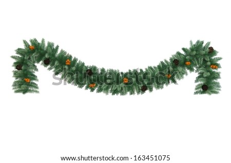 Christmas tinsel with pine cones and baubles isolated - stock photo