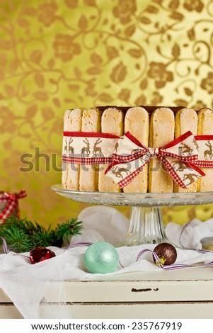Christmas tiramisu cake, selective focus - stock photo