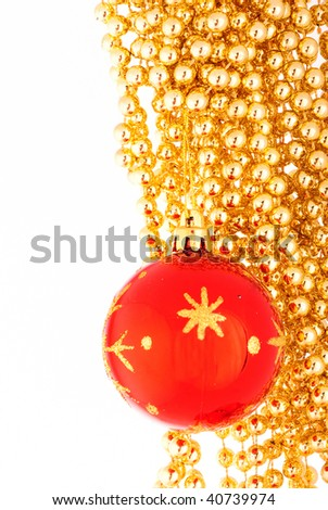 Christmas toy and beads 4 - stock photo