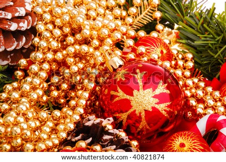 Christmas toy and beads 21 - stock photo