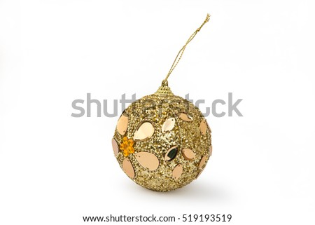 Christmas toy for the Christmas tree and new year, beautiful ball isolated on the white background.