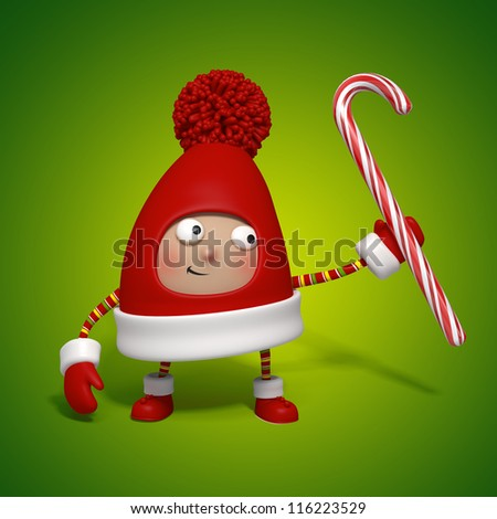 christmas toy holding candy cane - stock photo
