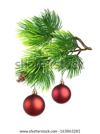 Christmas toy on fir tree branch isolated - stock photo