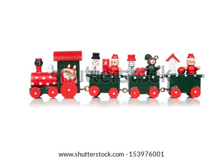 Christmas Toy Train Isolated Over White Background - stock photo