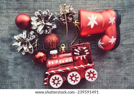 Christmas toys, Christmas decorations, Christmas balls,Christmas toys, Christmas decorations, Christmas balls, - stock photo