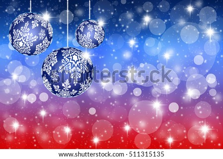 Christmas toys with snowflakes on abstract red and blue background - illustration