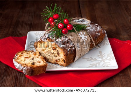 Christmas traditional cake. Christmas stollen with several ingredients