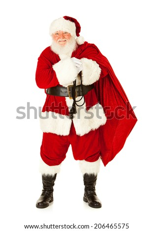 Christmas: Traditional Santa Claus With Sack Of Presents - stock photo