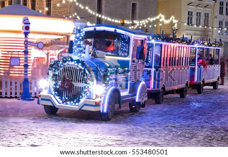 Christmas train in old city of Tallinn, Estonia