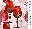 Christmas translucent seamless pattern with red wine glasses and filigree snowflakes. - stock vector