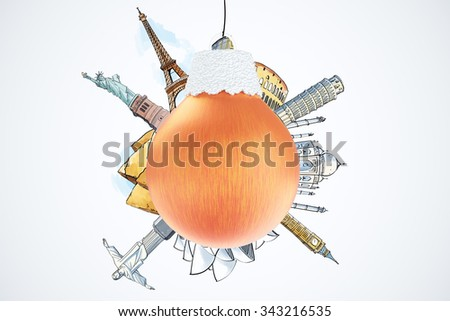 Christmas travel concept with red christmas tree ball and drawn landmarks of famous world places 3D Render - stock photo