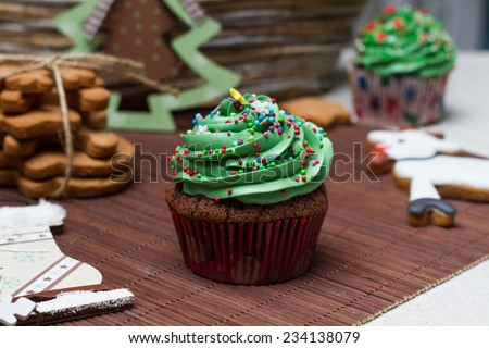 Christmas Treats. Cakes, cupcakes, confection. - stock photo