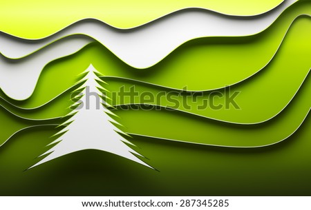 Christmas tree abstract green and white paper background - stock photo