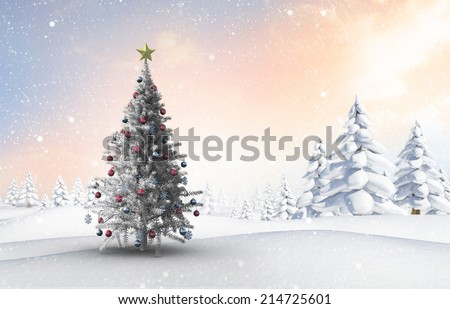 Christmas tree against snowy landscape with fir trees - stock photo
