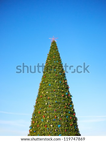 Christmas tree against the sky - stock photo