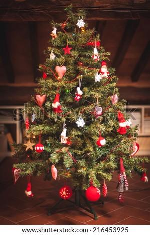 Christmas tree and Christmas decorations - stock photo