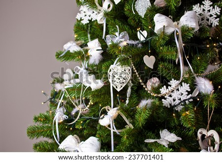Christmas tree and Christmas decorations - stock photo