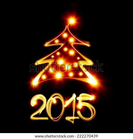 Christmas tree and 2015 created by light - stock photo