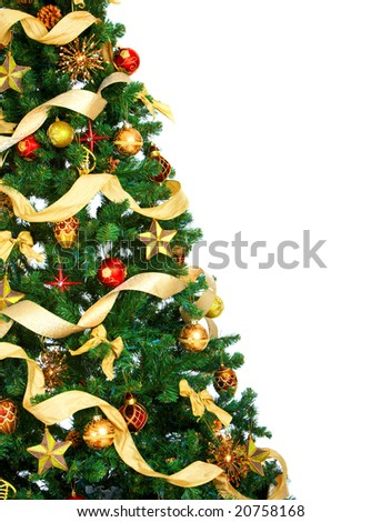 Christmas Tree and decorations. Over white background - stock photo