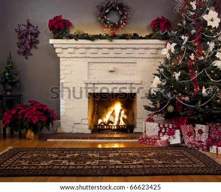Christmas tree and fireplace background. - stock photo