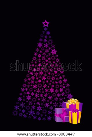 christmas tree and gifts - stock photo