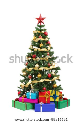 Christmas tree and gifts.Isolated on white. - stock photo