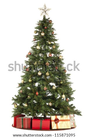 Christmas tree and Gifts over the white background - stock photo