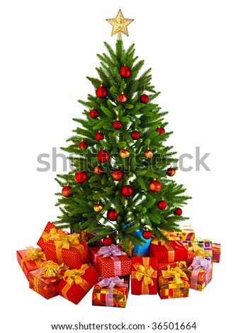 Christmas Tree and Gifts. Over white background - stock photo