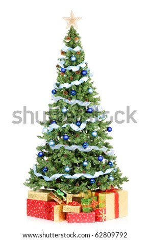 Christmas Tree and Gifts. Over white background