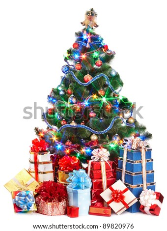Christmas tree and group gift box. Isolated. - stock photo
