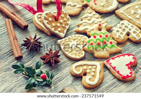 Christmas tree  and heart shaped cookies with icing decoration  - stock photo