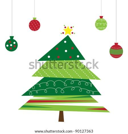 Christmas Tree and Ornaments - stock photo