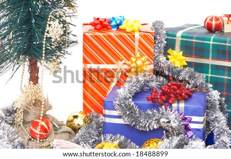 christmas tree and presents on white