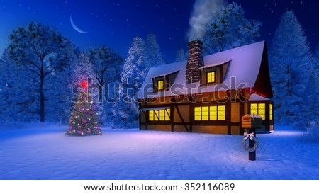 Christmas tree and rustic house with smoking chimney and icicles on the eaves under starry night sky with half moon. Mailbox decorated with christmas garland on foreground. Decorative 3D illustration. - stock photo