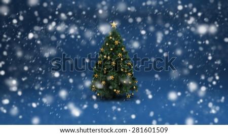 Christmas tree and snow - stock photo