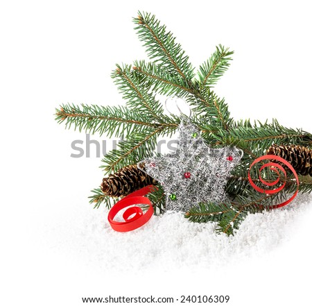Christmas tree and star on a white background - stock photo