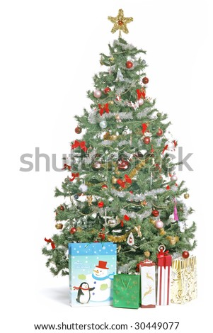 Christmas Tree and the gifts image on white background