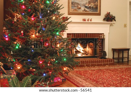 Christmas tree and warm fireplace - landscape 1 - stock photo