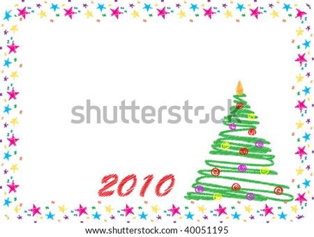 Christmas tree and year 2010 in scribble style - stock photo
