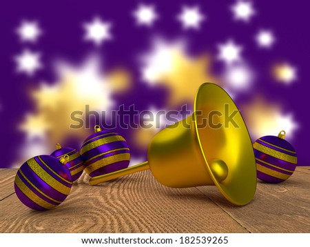 Christmas tree balls and a bell in purple and gold. - stock photo