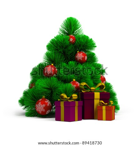Christmas tree, balls and gifts. 3d image. Isolated white background. - stock photo