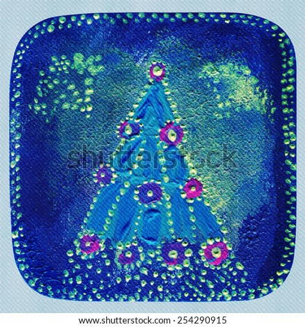 Christmas tree balls and lights electrogarlands drawing in naive style - stock photo