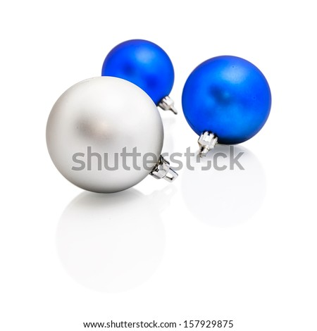 Christmas tree balls isolated on white background - stock photo