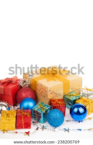 Christmas tree bauble ,ornament and gift box on white background